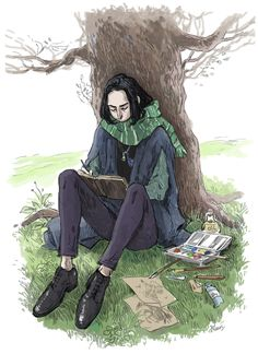 Snape studying during his year at Hogwarts Harry Potter Fan Art, Harry Potter Severus Snape, Severus Rogue, Harry Potter Anime, Harry Potter Universal, Harry Potter Fandom, Harry Potter Characters, Harry Potter Memes, Professor Severus Snape