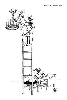 Caricatura de ADRIAN ANDRONIC, publicata in almanahul PERPETUUM COMIC '97 editat de URZICA, revista de satira si umor din Romania