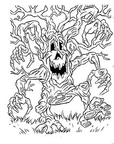 scary halloween tree coloring pages - photo#13