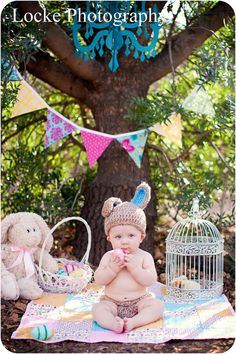 love the chandelier & bunting banner one year pic