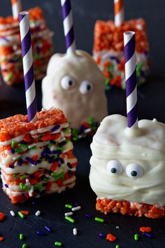 Halloween Marshmallow Treats on MyBakingAddiction.com
