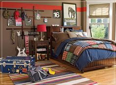 I like the way to hang things in this room...easy.  10 Inspirational Pictures for Boys Bedroom Design Ideas