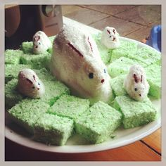 Marshmallow bunnies on a bed of marshmallow grass