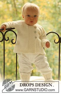 """Knitted DROPS jacket and socks in moss st in """"Merino Extra Fine"""". ~ DROPS Design"""