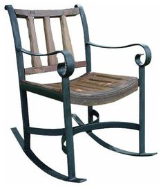 Rockdale Indoor / Outdoor Rocking Chair. Reclaimed. Antique Wagon Spokes. Honey Finish.