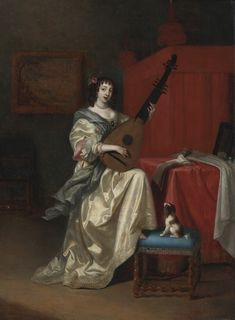 Reynier de la Haye (Dutch, c. 1640-after 1695). Portrait of a Young Woman playing the Lute. 1674