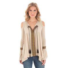Wrangler Women's Long Sleeve Tie Tassel Neck Solid Top Shirt (Size: Medium) Khaki