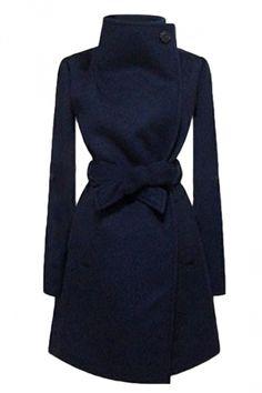 Navy Blue Ladies Plain Turndown Collar Wool Tiebelt Wrap Coat - PINK QUEEN