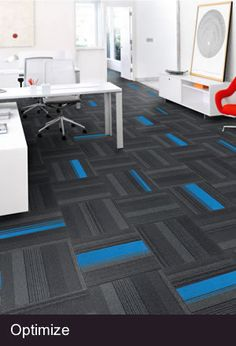Optimize Midnight Charcoal with Skyblue highlighters modular #carpettile stock by Mohawk carpets