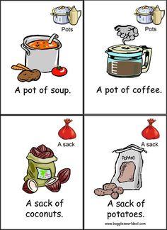 A pot of coffee; a sack of potatoes English Fun, English Tips, Learn English Words, English Study, English Lessons, English Grammar, Teaching Vocabulary, Vocabulary Activities, Kids Learning Activities