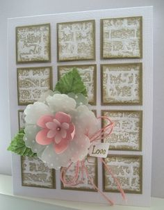 Beautiful Vellum Flower and Bkgrd squares made with brick EF inked with crumb cake