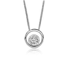 Canadian Ice ½ct. Brilliant-Cut Floating Solitaire Diamond Pendant in 14k White Gold
