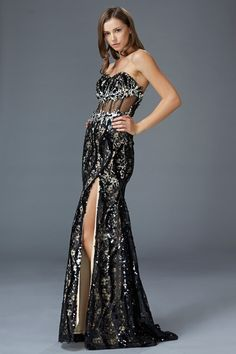 G2013 Black Sequin and Lace Prom Dress Evening Gown