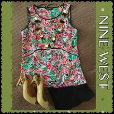 Nine West Top Nine West created the best colors & design in this sleeveless top!! Gorgeous red, coral, green, bluish gray, black w/ lovely black trim around the neckline & arms as well as around the midriff, front & back. So many options with this increasing number! Wear to work sleeveless in the summer or make a blazer pop year round! Wear a sexy little skirt, shorts & high heels! Go casual with with capris, flats. The ideas are endless!             No trades Nine West Tops Blouses