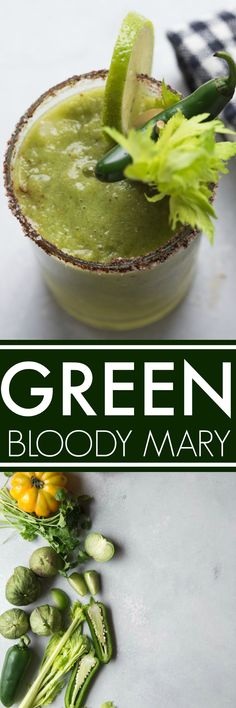 This Green Bloody Mary is perfect for St. Patrick's Day but delicious any time of the year! Made with tomatillos, yellow tomatoes horseradish for a great kick.#bloodymary #stpatricksday #greenbloodymary #cocktail #brunchcocktail via @platingspairing