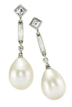 A Pair of Art Deco Natural Salt Water Pearl and Diamond Drop Ear Pendants, by Cartier, circa 1925. Available at  FD Gallery. www.fd-inspired.com