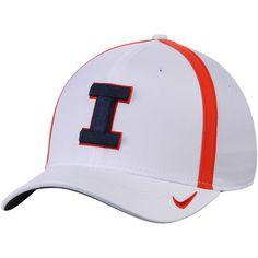 e9f37d491a27e Men s Nike White Illinois Fighting Illini 2017 AeroBill Sideline Swoosh  Coaches Performance Flex Hat