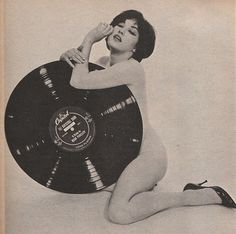 girl with giant record