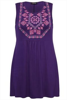 Purple Jersey Tunic With Caviar Beaded Abstract Print Detail 25.50€