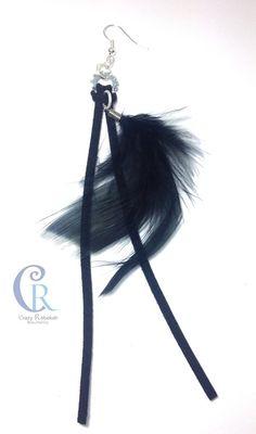 Pendientes plumas negras de Crazy Rebekah bisuteria por DaWanda.com