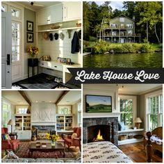 A lake house designed for an extended family by Crisp Architects. Cottage Living, My Living Room, Cottage Style, Lake Houses For Sale, Hickory House, Modern Farmhouse Exterior, Interior Design Living Room, Great Rooms, Architecture Design
