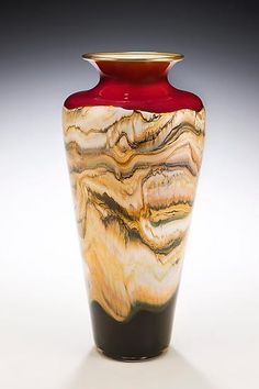 """""""Ruby Strata Traditional Urn"""" - Hand blown glass vase with metallic gold/silver lip accent."""