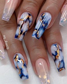 25 Marble Nail Design with Water & Nail Polish 25 Marmornagel Design mit Wasser & Nagellack Cute Acrylic Nail Designs, Marble Nail Designs, Marble Nail Art, Nail Art Designs, Nails Design, Blue Acrylic Nails, Summer Acrylic Nails, Acrylic Nails Stiletto, Nail Summer