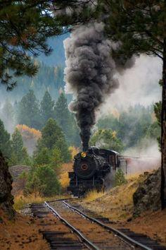 Steam locomotive entering a curve.