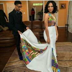 This woman, whose kente dress featured a mesmerizing patchwork of fabrics. 18 Fierce AF African Prom Dresses That'll Give You Life African Wedding Attire, African Attire, African Wear, African Dress, African Print Dress Prom, African Weddings, African Prom Dresses, African Fashion Dresses, Dresses Dresses