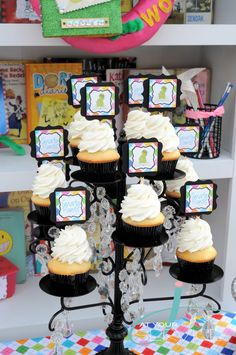 Candelabra turned cupcake stand