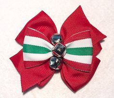 Christmas Hair Bow with Bells  Red white and by ItsEspecially4U #christmas #hair #bow #clip #accessory #red #green #white #holiday #stocking #stuffer #jingle #bells #silver #stacked #double #boutique #pinwheel #striped #itsespecially4u #girls #women #teenagers #toddler