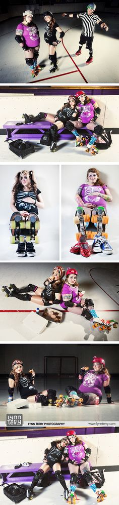 Double roller derby maternity shoot by Lynn Terry Photography. #MaternityShoot #MomToBe #derbymommas #badassmommas #RollerDerbyBaby #LynnTerryPhotography
