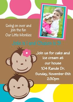 Monkey Birthday Invitations Twins Siblings Digital Party Invite