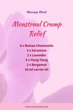 Menstrual Cramps Relief How To Relieve PMS Naturally – Anna Öztürk - Who doesn't know PMS? I think at some point we all face it, we all know what it is and what it does. Even my husband knows… So PMS or premenstrual syndrome, is our reaction on all these… Essential Oils For Cramps, Essential Oil Menstrual Cramps, Remedies For Menstrual Cramps, Essential Oil Diffuser Blends, Young Living Essential Oils, Cramp Remedies, Pms, Period Cramp Relief, Diffuser Recipes