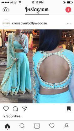 For details / order please dm or Whatsapp on . Saree Blouse Neck Designs, Choli Designs, Fancy Blouse Designs, Stylish Blouse Design, Indian Designer Outfits, Indian Outfits, Designer Blouse Patterns, Indian Wear, Indian Blouse