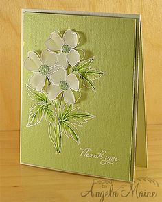 Monochromatic Thank You  I used a Magenta flower wood mount stamp by first stamping the image onto green card stock. I then stamped onto white vellum. Both were heat embossed in white powder and the vellum flowers were fussy cut and popped up. I added some extra green with copics. The sentiment is by Verve. http://fromthetoolshed.blogspot.com/2013/03/monochromatic-thank-you.html