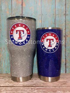 Texas Rangers Inspired Glitter Tumbler - Yeti, Rtic, or Ozark - 30 oz. or 20 oz. (sealed decal) by StarkCustomDesigns