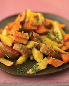 Maple-Glazed Parsnips and Sweet Potatoes  http://www.marthastewart.com/recipe/marthas-maple-glazed-parsnips-and-sweet-potatoes