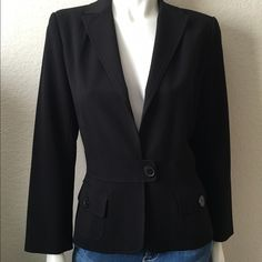 "Max Studio Black Jacket Max Studio Black Jacket comes in black with black stripes within the fabric, is fully lined with two front pockets and single button closure, waistband detail and single button closure. 62% Polyester 33% Rayon 5% Elastin Lining 100% Acetate. Size: M Bust: 36"" Length: 24 1/2"" Shoulder to Shoulder: 15"". Worn a couple of times. Like new condition. Max Studio Jackets & Coats Blazers"