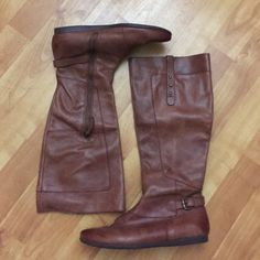 Nine West Brown Leather Boots Size 6 1/2 Brown Leather (outer) Great condition! Nine West Shoes Heeled Boots
