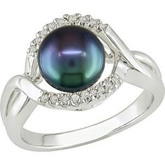 7.5-8mm Black Cultured Freshwater Pearl with Diamond Accent Ring in Sterling Silver