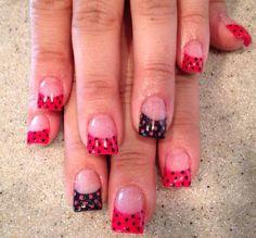 Pink and black polka dot nails, Nails by Dana