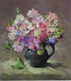 """Sweet Peas"" ~ from a Flower Painting by Anne Cotterill . Limited Edition Print of Signed & Numbered by the Artist, the Painting depicts Pink & Mauve Sweet Peas in a Dark Blue Torquay Pottery Jug . Mill House Fine Art Publishing Ltd . Watercolor Flowers, Watercolor Art, Wow Art, Arte Floral, Fine Art, Botanical Art, Beautiful Paintings, Art Pictures, Bunt"