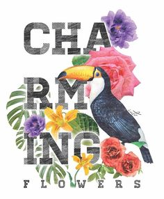 Estampa tropical reproduzida em serigrafia #tropical #tucano #flores #serigrafia #silk #estampafloral #designdesuperficie #surfacedesign #floralprint #estampa