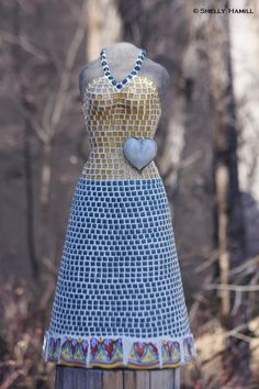 'Miss Fields' 24 H Tile Dress by Shelly Hamill, Sculptures For Sale, Cabo, Mosaics, Metals, Fields, Tile, Mexico, Gallery, Glass