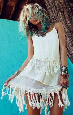 Gypsy Soul fringe cotton dress, modern hippie boho fashion style, boho, bohemian, hippie, spiritual, free spirit, fashion, style