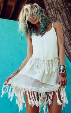 Gypsy Soul fringe cotton dress, modern hippie boho chic fashion, new Bohemian style. FOR more ideas FOLLOW http://www.pinterest.com/happygolicky/boho-chic-fashion-bohemian-jewelry-boho-wrap-brace/ now!