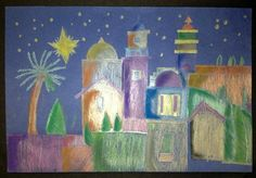 7th Grade - Bethelhem City - Metallic color pencils on dark blue construction paper.  Chalk pastels added for value and emphasis.  Inspired by http://bluemoonpalette.blogspot.com/