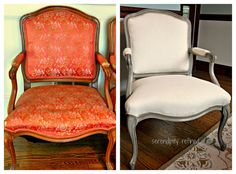 The chairs were painted with two coats of Annie Sloan Chalk Paint in French Linen and then waxed, first with clear wax and then with dark wax. The back of the seats is upholstered with Natural Cotton Candlewick Fabric from JoAnn Fabrics and the fronts of the seats and back have vintage upholstery weight Hemp Linen from my stash. The welting is jute covered cotton cord which I also purchased from JoAnn Fabrics.