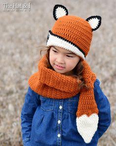 CROCHET PATTERN - Fox Fancy Hat & Cowl - crochet fox hat pattern and fox cowl pattern (Toddler, Child, Adult sizes) - Instant PDF Download